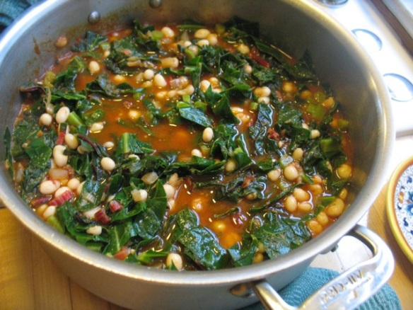 Tomato-Braised Collards with Beans