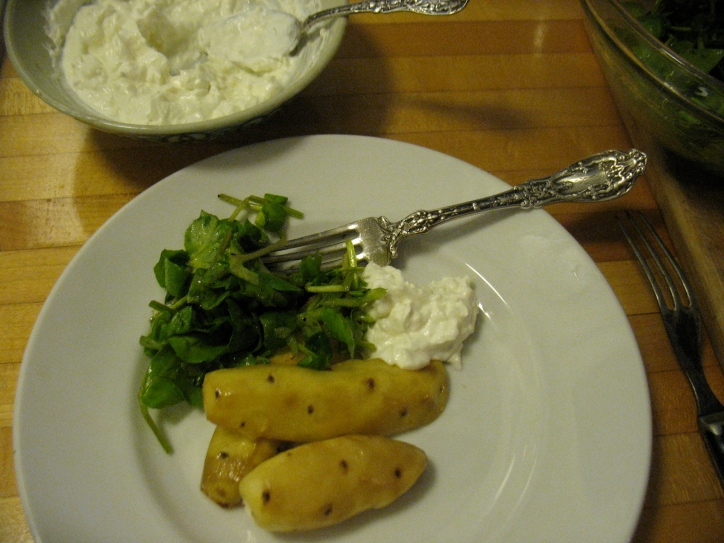Roasted Ozette potatoes, fresh horseradish cream and watercress.