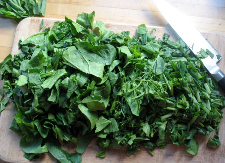 Spinach and pea shoots